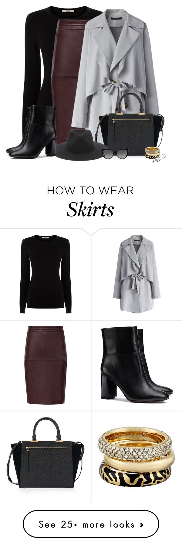 """""""Leather Skirt for Fall"""" by coombsie24 on Polyvore featuring Oasis, Chicwish, Henri Bendel, rag & bone, Michael Kors and Tory Burch"""