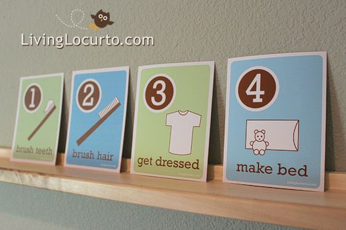 10 chore ideas for toddlers. Includes free printable morning routine cards