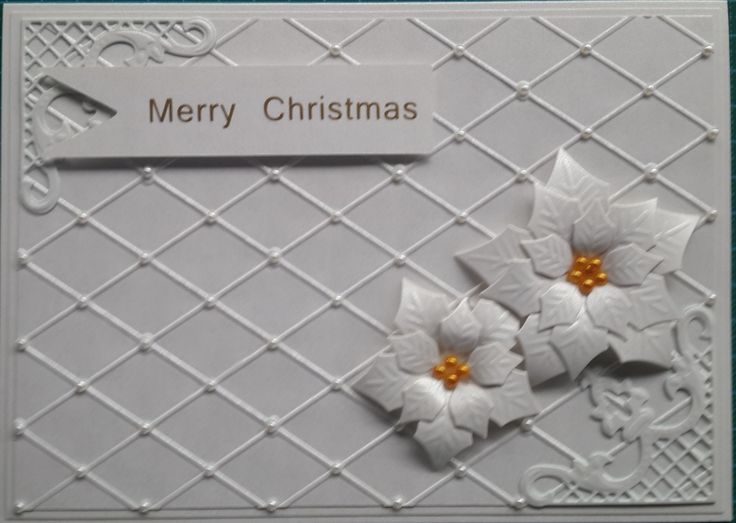 058_A5_Poinsettias with Corners, Embossed Background and sentiment. Handmade by Diane Prinsloo (Lubbe).