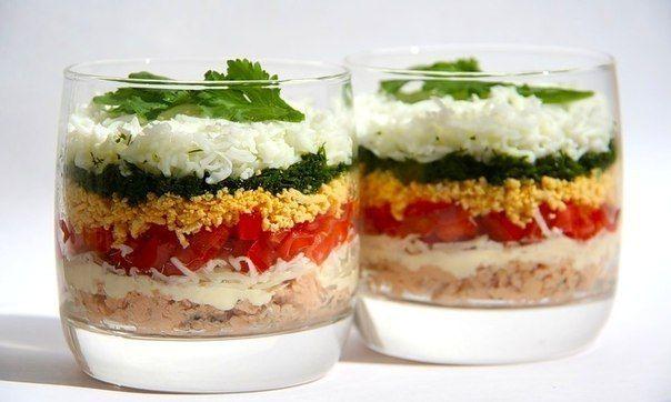 Легкий слоеный салат   Кулинарные Рецепты
