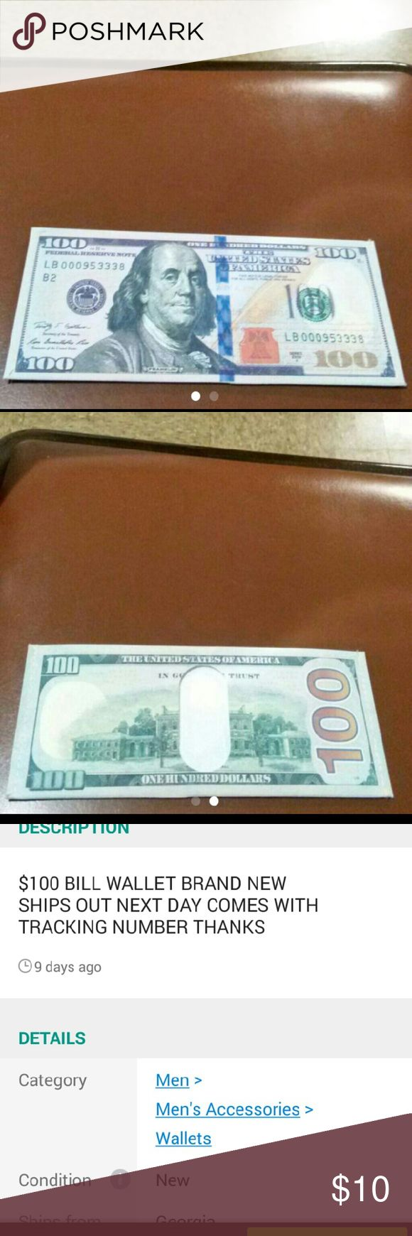 $100.00 DOLLARS BILL WALLET I HAVE A$100.00 DOLLARS BILL WALLET STILL IN NEW CONDITION NEVER USED BEFORE Other