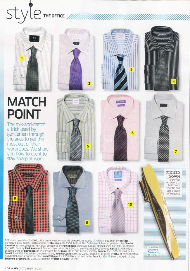 Shirt and tie combinations - getting the most out of your wardrobe