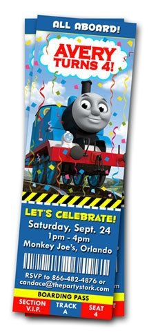 Thomas the Train Birthday Invitations: Printable Tank Engine Ticket Party Invitation YOU Print, Matching Printables Available