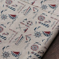 Online Shop New arrival sailing boat series pattern cotton/Linen fabric for patchwork,cheap linen fabric for bag,tablecloth,free shipping Aliexpress Mobile