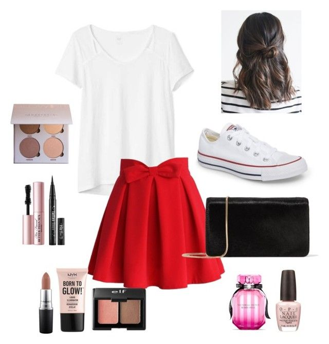 """Puberty hit the little red ridding hood"" by chicdontchic ❤ liked on Polyvore featuring Converse, Gap, Chicwish, Diane Von Furstenberg, Too Faced Cosmetics, MAC Cosmetics, NYX, Charlotte Russe, Victoria's Secret and OPI"