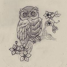 Owl Tattoo Drawing 2 by LilMejium on DeviantArt