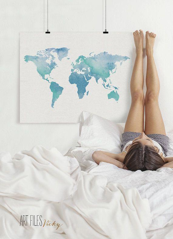 Hey, ho trovato questa fantastica inserzione di Etsy su https://www.etsy.com/it/listing/218640571/world-map-art-print-watercolor-world-map