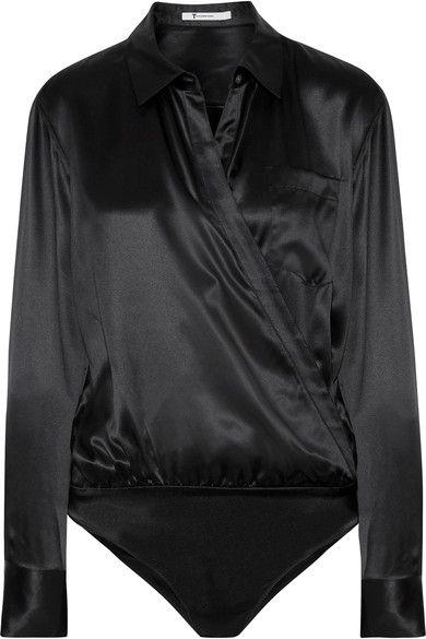 T by Alexander Wang - Wrap-effect Silk-charmeuse Bodysuit - Black - US10