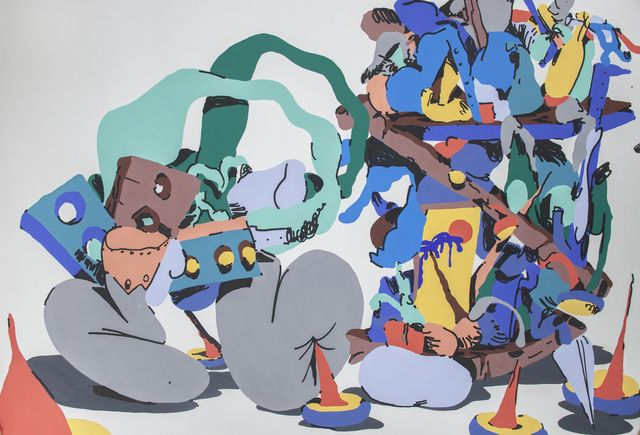 Available for sale from Ruttkowski;68, Horfee, Smurfy Book Shelve (2014), Acrylic and gouache on paper, 102 × 72 cm