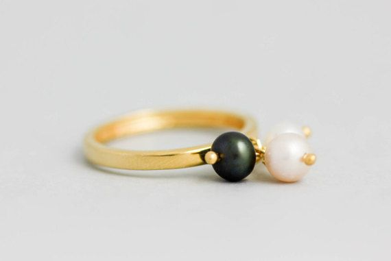Dangle Pearl Ring, Gold Filled Pearl Ring, Black Pearl Ring, Charm Pearl Ring, Pearl Ring Sterling Silver, Stacking Pearl Ring,  SR0203