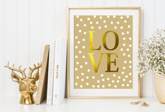 LOVE quote print poster Cute wedding art Engagement present idea Inspiring love,gold love poster,  love print Spotty art print poster
