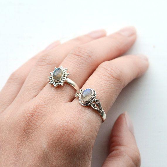 Labradorite pietra di cristallo argento anello-925 guarigione blu-quarzo fume verde grigio-gioielli-Boho Midi Ring bohemien stile - Size 7