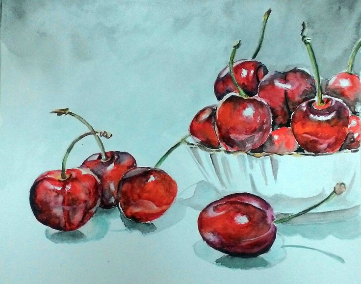 Watercolor still life. Sweet cherry. Watercolor cherry.