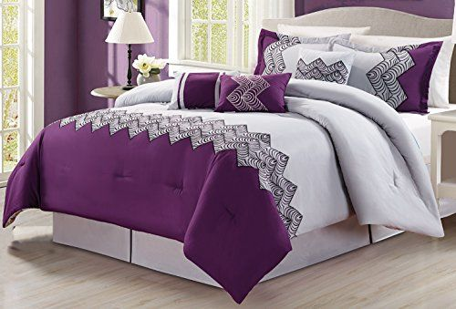 7 Piece Oversize Purple Grey Black Embroidered Luxury Comforter Set King Size Bedding 104X94 * ON SALE Check it Out