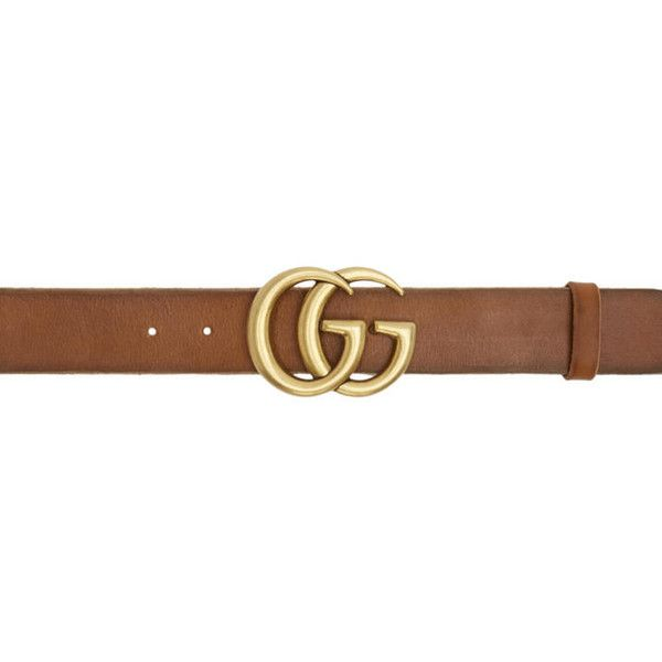 Gucci Brown Leather GG Belt (16,600 DOP) ❤ liked on Polyvore featuring accessories, belts, brown, gucci, adjustable leather belt, brown leather belt, adjustable belt and studded belt