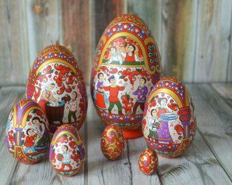 Huevos huevos de madera colorido único huevos por AnnaSmirnova74