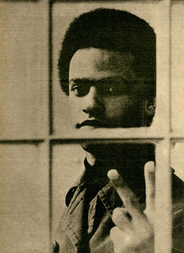 Huey P. Newton, minister of defense of the Black Panther party in that cell of the Alameda County Jail in Oakland, CA.