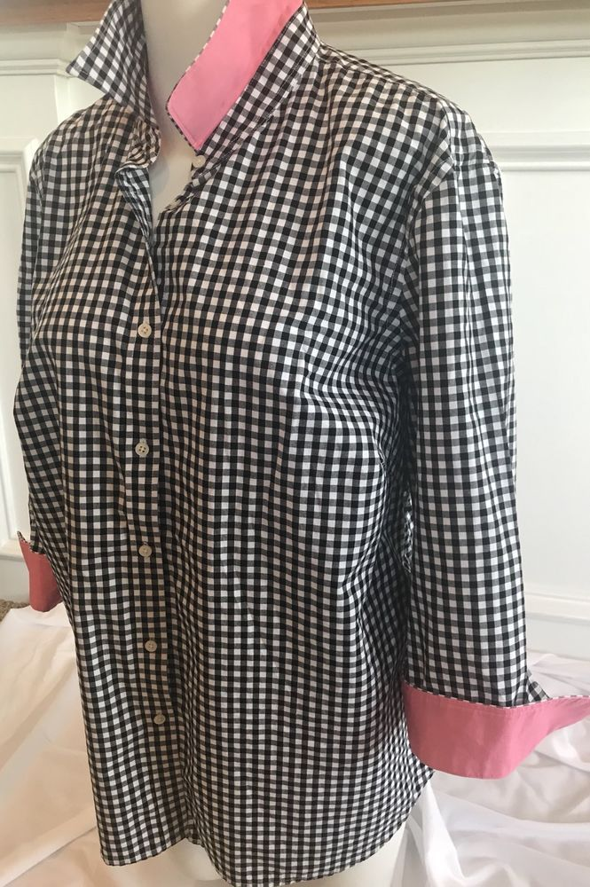 aae242fb3 Lauren Ralph Lauren Women's Plus Size 1X Gingham Button Down Shirt Contrast  Pink Cuff and Collar. 3/4 length sleeves 19 inches long.