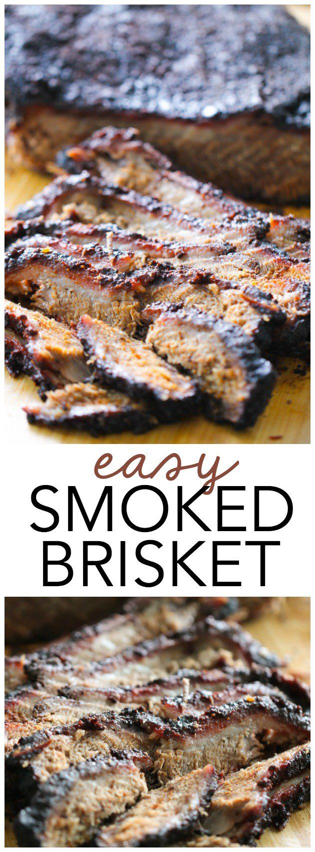 Easy Smoked BBQ Brisket from SixSistersStuff.com   Delicious smoked brisket with a brown sugar rub.
