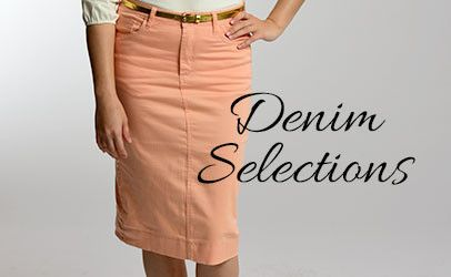 Specializing in fashionable modest clothing for women and girls. Your choice online for colored denim skirts, layering top and an array of ready to wear items!