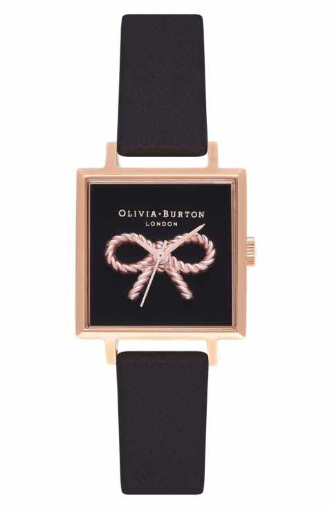 Olivia Burton Vintage Bow Square Leather Strap Watch, 30mm