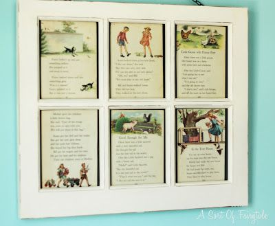 Love the window pane frame with story book pages ! (from A Sort Of Fairytale)