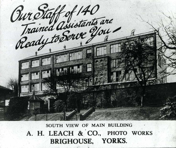 An old advert for A.H Leach & Co showing the premises at Sunnybank Road, Brighouse.