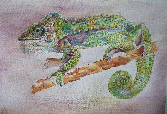 animali: camaleonte acquerello dipinto originale / di Stellangelo