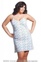 Coquette Lingerie Nuts Line Chemise Print Dress White OS XL. One size extra large. Comfy stretch cotton material great for sleep, lounge and play. Ladies 170 pounds to 200 pounds. Bust 40 inches to 48 inches. Waist 32 inches to 40 inches. Hips 42 inches to 50 inches. C - D Cups. Dress sizes 14 - 20.