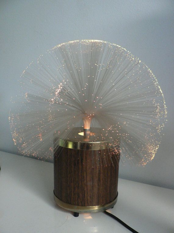 Vintage 1970s Fiber Optic Rotating Lamp Space Age Lamp Color Changing Motion Lamp 1970s