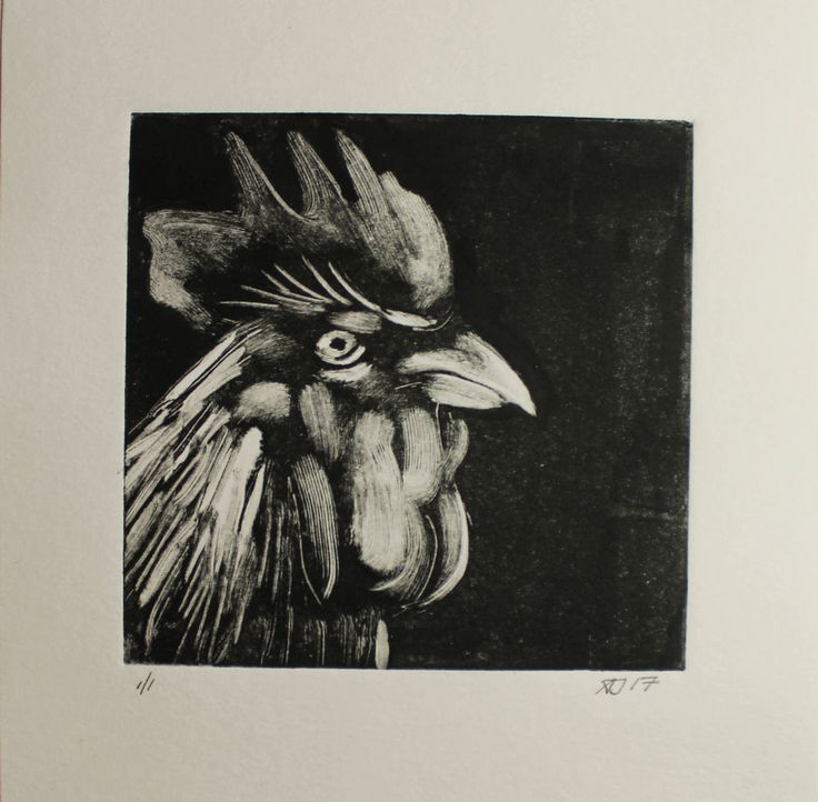 #Cockerel #Monoprint, #Monotype, #Print, One of a Kind Original #Art,  Wall Decor  #Impressionism #printmaking