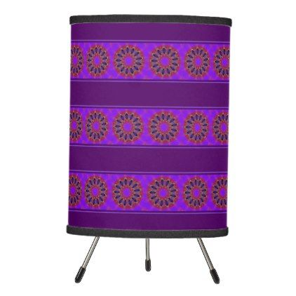 Violet Purple & Cherry Red Modern Mandala Tripod Lamp - home gifts ideas decor special unique custom individual customized individualized
