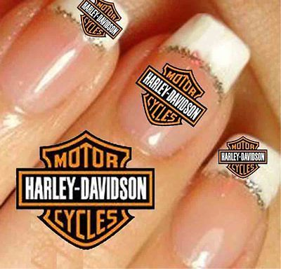 3 sets of 20 HARLEY DAVIDSON STICKERS in 2 SIZES = 60 NAIL ART STICKERS