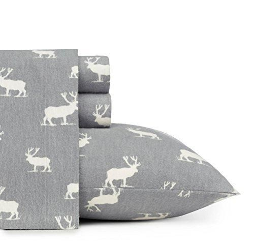 Rustic Grey Elk Deer Theme Sheets Twin Set Animal Cabin Lodge Cottage Southwestern Fully Elasticized Fitted Deep Pocket Cotton Flannel Christmas Gifts