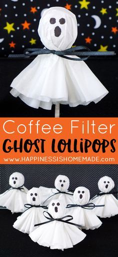 coffee filter ghost lollipops fun halloween treatshalloween crafts for kidshalloween - Preschool Halloween Crafts Ideas