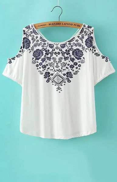 women off shoulder crop top shirt sexy blue white porcelain pattern blouses vintage short sleeve shirts casual slim tops DT338