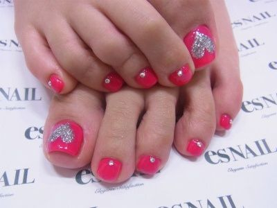 Pink & silver toe nails, super cute but I would face the heart so others could see it right side up :)