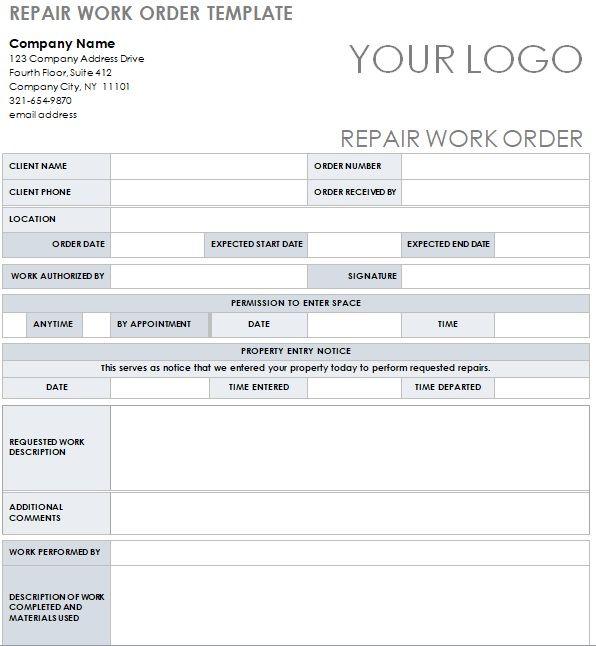 Repair Work Order Template In 2021 Templates Business Template Repair