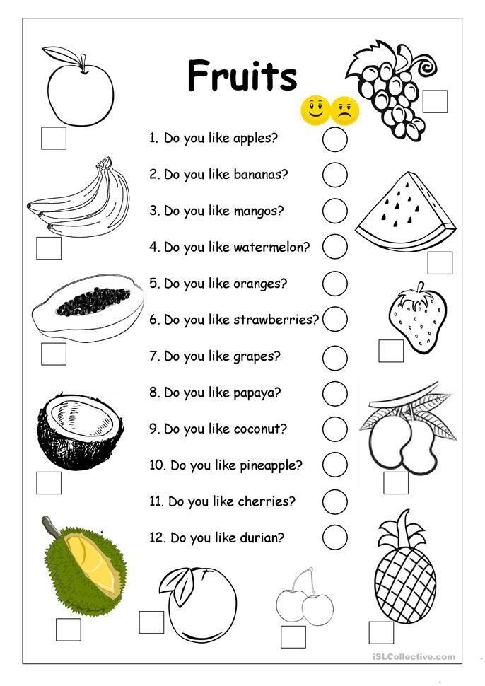 Do You Like Apples Fruits Worksheet Fruits Worksheet Grammar For Kids Fruit Worksheets Printable fruits worksheets for