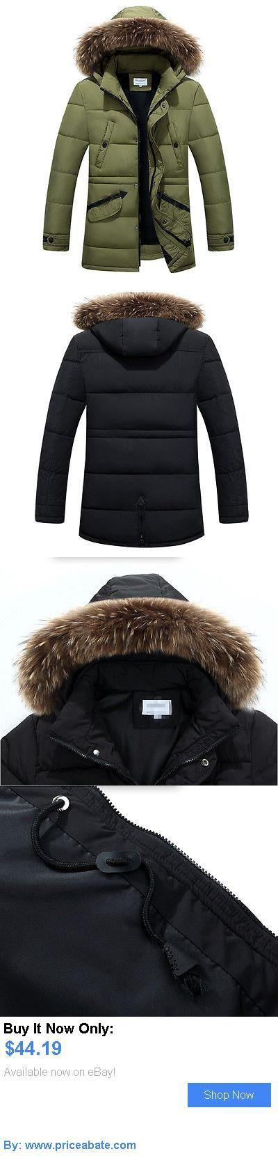 Men Coats And Jackets: Parka Mens Winter Thick Coat Windbreaker Fur Hooded Warm Down Jacket Overcoat BUY IT NOW ONLY: $44.19 #priceabateMenCoatsAndJackets OR #priceabate