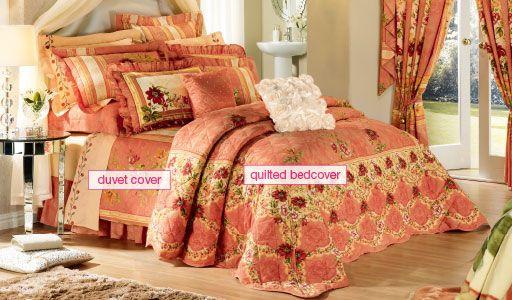 Royal Garden Peach Duvet Amp Comforter Set Bedding