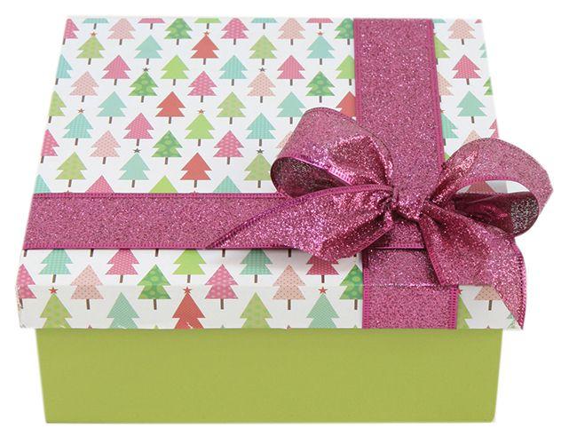 Caja de madera / moño rosa  / Navidad 2014 / Adorno / Decoración