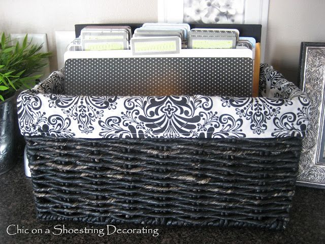 Good idea to file papers that end up all over the kitchen counter in a cute basket