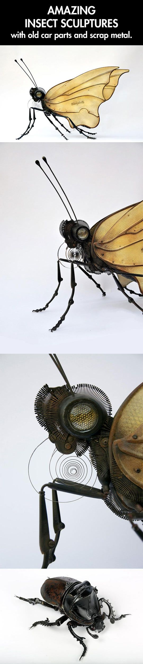 Insect sculptures made from found things. these are brilliant.