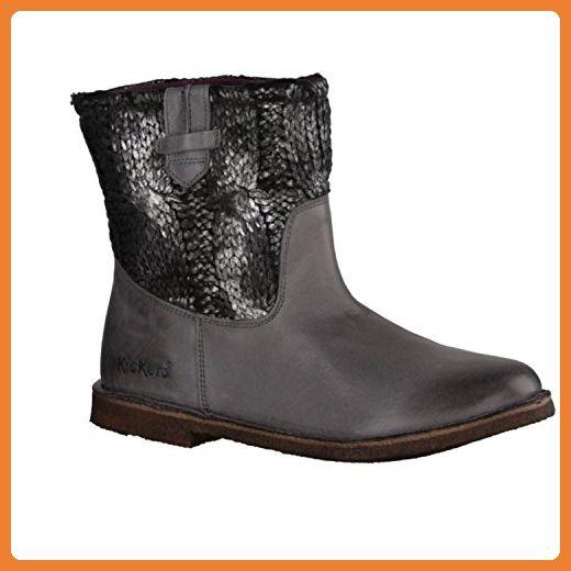 Kickers Cresson 445051-123- Damenschuhe modische Stiefelette, Grau,  leder / textil, absatzhöhe:    flach - Stiefel für frauen (*Partner-Link)
