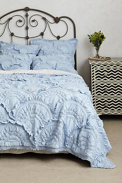 Rivulets Quilt in Sky Blue- anthropologie.com --> also love the chevron night stand!