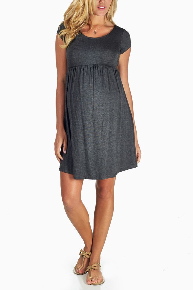 Charcoal-Grey-Basic-Maternity-Dress #maternity #fashion