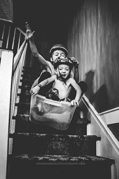 Дети, лестница, горка, экстрим