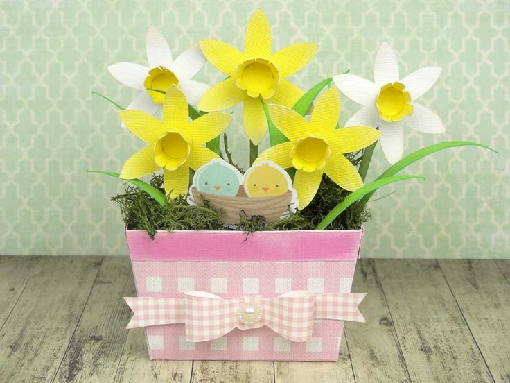 Paper daffodils spring and easter centerpiece craft cutting files for this project available in the