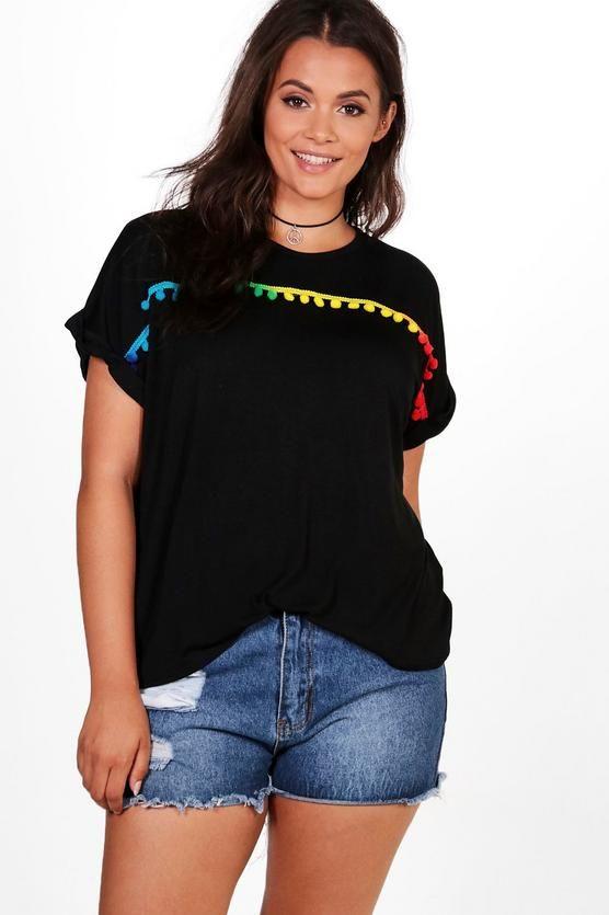 Plus Hannah Pom Pom Trim T-shirt